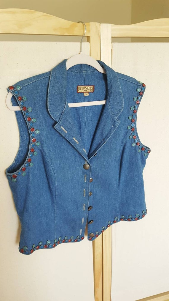 Size L Vintage Double D Ranch Jewel Studded Wester