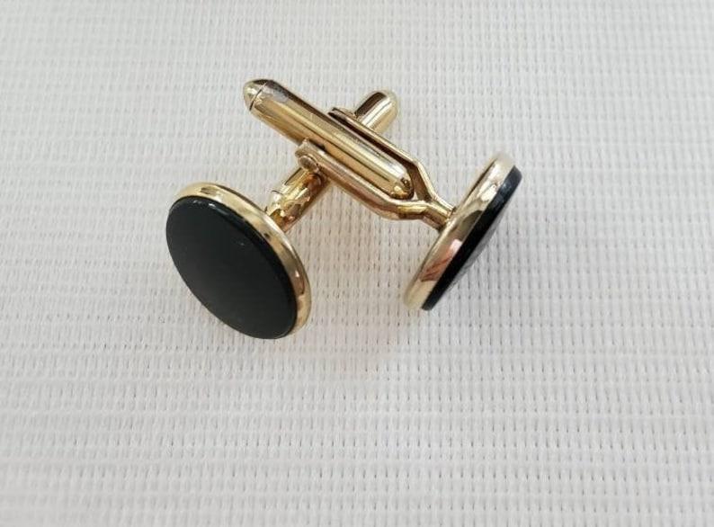 Vintage Swank Cufflinks Groom Cufflinks Black Round Cufflinks Tuxedo Cufflinks Swank Cufflinks Gifts for Him Gift for Groom