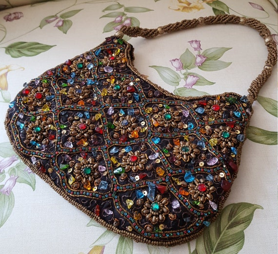 Vintage Purse - Beaded Purse - Gemstone Purse - Rh