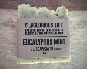 Natural Soap, EUCALYPTUS MINT Soap - 1 bar (2.2 oz./63g) - Vegan Soap, SLS Free Soap, Gluten Free Soap, Paraben Free Soap, Eco Friendly Soap