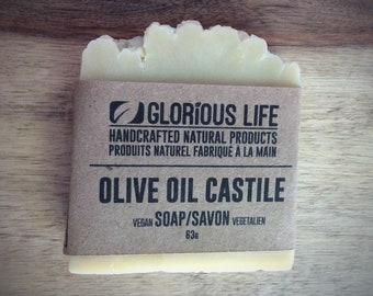 Natural Olive Oil Castile Soap (unscented) - 1 bar (2.2 oz./63g) - Glorious Life