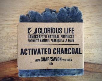 Natural Soap, ACTIVATED CHARCOAL Soap - 1 bar (2.2oz./63g) - Detox Soap, Vegan Soap, Handmade Soap, Facial Soap, Black Soap, Unscented Soap