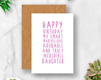 Sweet Description Happy Birthday Daughter Card For