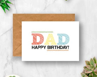 DAD Birthday Card Dad For