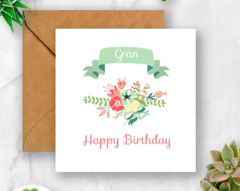 Floral Gran Birthday Card For Nan Grandma Nana Granny