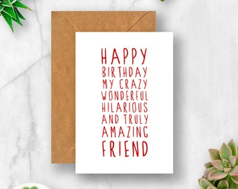 Sweet Description Happy Birthday Friend Card For Amazing Cute Funny