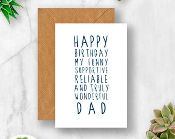 Sweet Description Happy Birthday Dad Card For