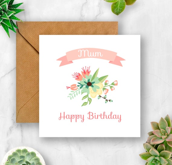 Floral Mum Birthday Card Mum Card Mum Birthday Card Card Etsy