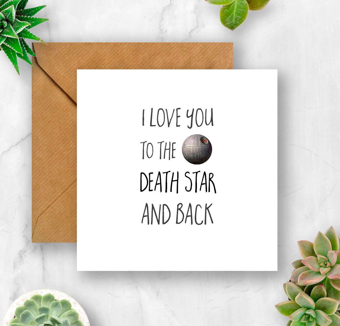 I Love You To The Death Star And Back Card Love Card Etsy