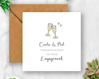 Personalised Engagement Congratulations with Champagne Glasses Card, Engaged Card, Engagement Card, Card for Engagement, Personalised Card