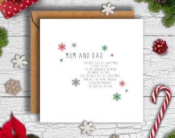 Mum & Dad Poem Christmas Card, Mum and Dad Xmas, Card for Mum and Dad, Mum Christmas Card, Dad Christmas Card, Mum and Dad Card