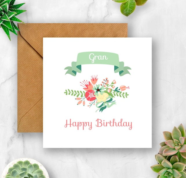 Floral Gran Birthday Card For
