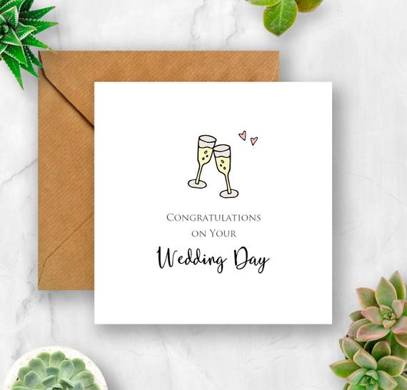 Wedding Congratulations With Champagne Glasses Card Wedding Card Wedding Day Card Card For Wedding Congratulations Wedding Card Wedding