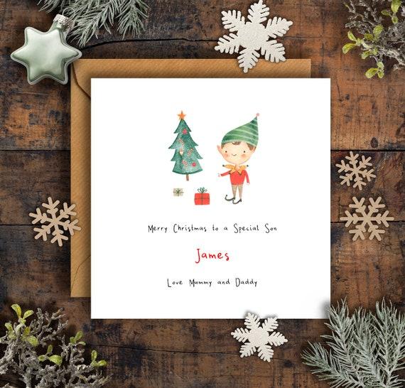 Personalisierte Sohn Elf & Baum Weihnachtskarte Sohn   Etsy