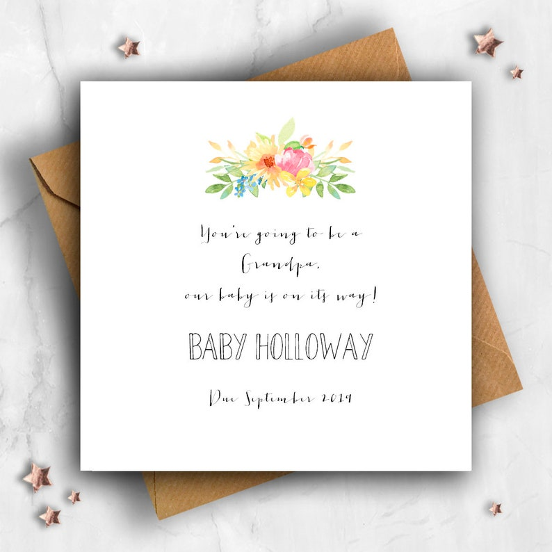 Baby Announcement Personalised Pregnancy Announcement Card Pregnancy Card Reveal Flowers You/'re Going to Be a Grandpa Expecting Card