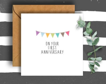 Bunting 1st Anniversary Card, Happy Anniversary Card, Anniversary Card, Wedding Anniversary, Card for Anniversary, Husband Card, Wife Card