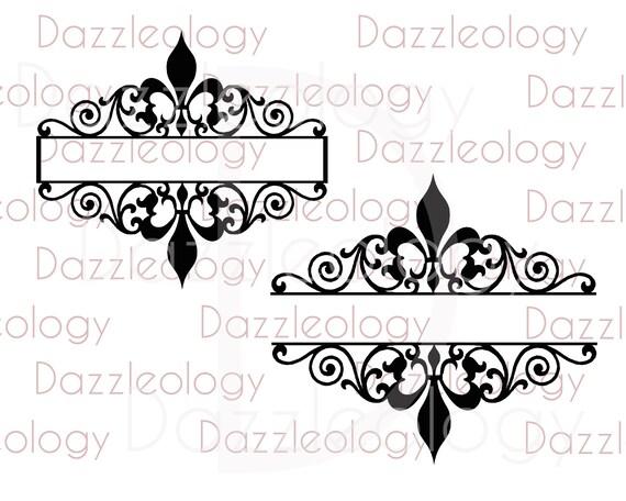 Scrollwork Naam Plaat Svg Monogram Frame Fleur De Lis Etsy