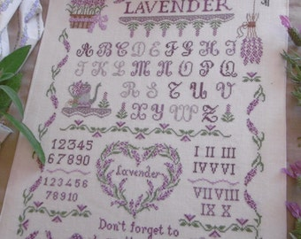 Chart Lavender Sampler  (including inscription in English,  Italian and French)- Paper format or PDF on demand