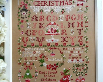 Chart Christmas Sampler  (including inscription in English,  Italian and French)- Hardcopy or PDF format
