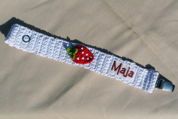 Pacifier chain Strawberry with the name pacifier ribbon