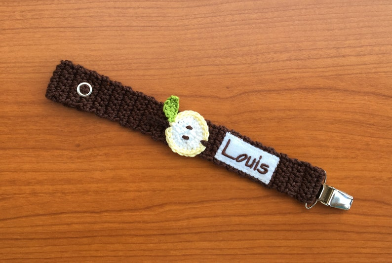 Pacifier chain Apple with name pacifier ribbon
