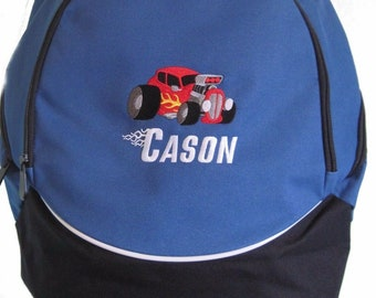 FREE SHIPPING Vintage Car Hotrod flames  Personalized Monogrammed Backpack Book Bag school tote NEW