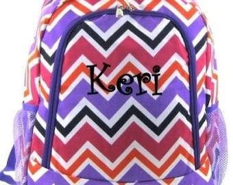 5901e24e1a8f FREE SHIPPING - Personalized Backpack Bookbag Chevron Zig Zag Purple  monogram book tote school NEW