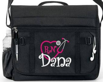 Free Priority Shipping - Personalized Black Nurse Stethoscope Messenger  tote bag - NEW - monogrammed - RN a873957a9db1d