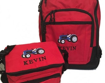 FREE PRIORITY Shipping - Personalized Farm Tractor Backpack   lunch bag Set  school book - Combine monogrammed NEW d967fc595c22b