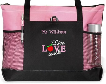 PERSONALISED MADE TO ORDER END OF YEAR TEACHER TOTE BAG PINK