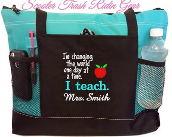 bac6b6a473f Free shipping - Personalized Teacher Tote Bag - Apple Books Heart -  monogrammed