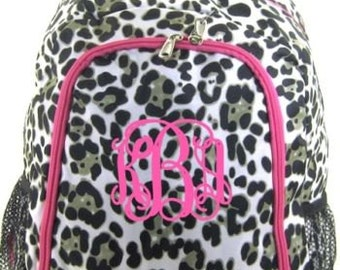 Free shipping - Personalized Backpack Bookbag PINK Leopard  Cheetah print  monogram book tote school NEW d45c0513e02d6
