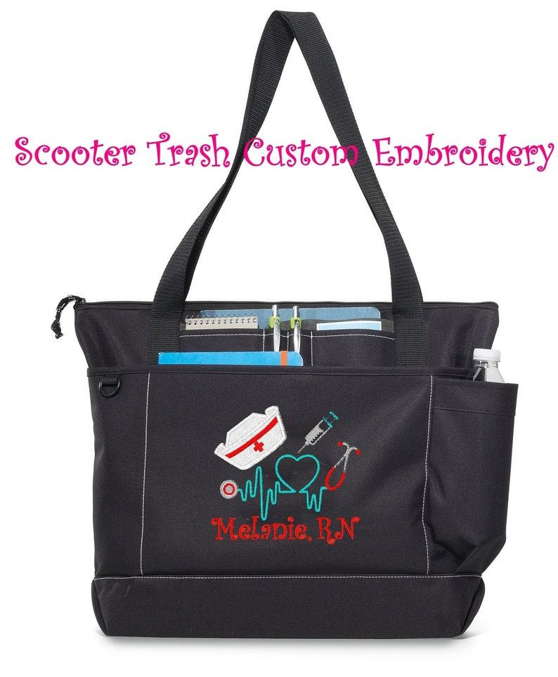 More Colors Free Shipping monogrammed Personalized Nurse Stethoscope Tote Bag RN LPN CNA