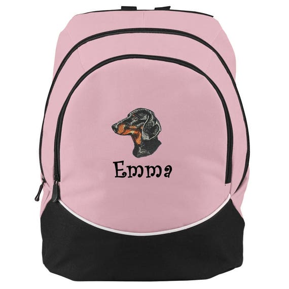 DACHSHUND Dog Blue Backpack school book bag  PERSONALIZED monogrammed NEW