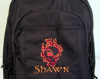 FREE SHIPPING - Personalized Flaming Skull Monogrammed Backpack Book Bag school tote Flames  - NEW