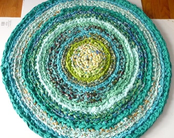 """Crochet Rag Rug 36"""" Round Cotton  Rug  Green Turquoise Ready To Ship"""