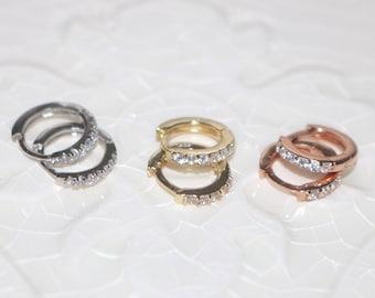 5 STYLES Available - Tiny Hoops Vermeil & Rose Gold Zircon hoop huggies earrings with Zircon