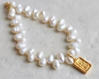 24K Vermeil Ancient Greek Byzantine Square Archangel Amulet Pearl Bracelet