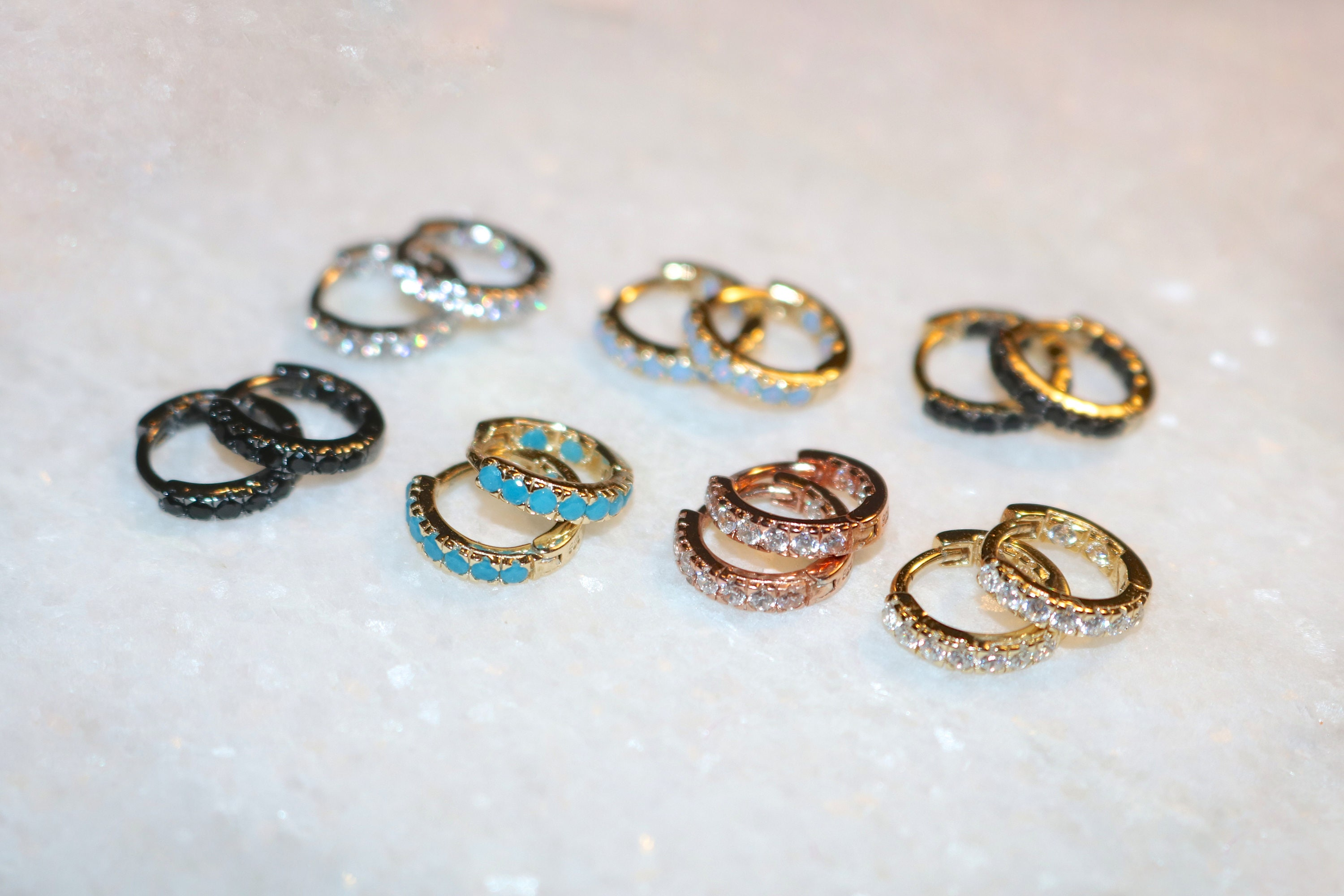 7 STYLES AVAILABLE Tiny Vermeil & Rose Gold Turquoise Zircon