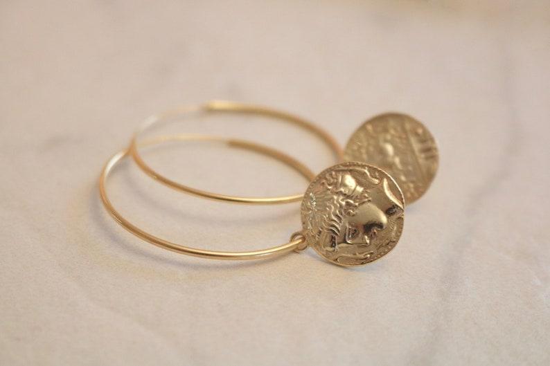 Ancient Greek Goddess Arethousa Medallion Coin Hoop Earrings