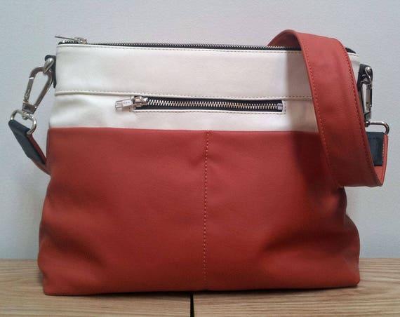 Leather Bag, Hobo style Handbag - rust and cream leather