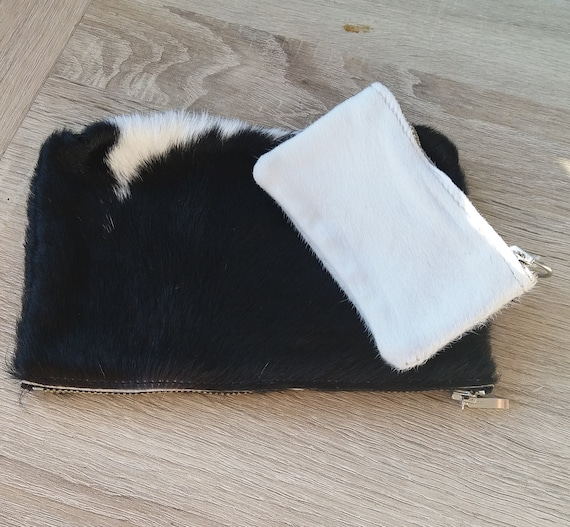 2 x Black/White Hairon Cowhide leather purses (pouch), toiletry bags