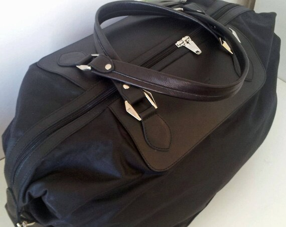 Oilskin and Leather Travel Bag, Weekend Bag - Handmade Black Leather and waxed canvas