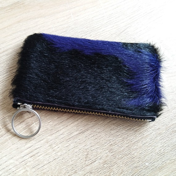Cowhide purse - Purple ans Black, Natural Hairon cowhide pouch
