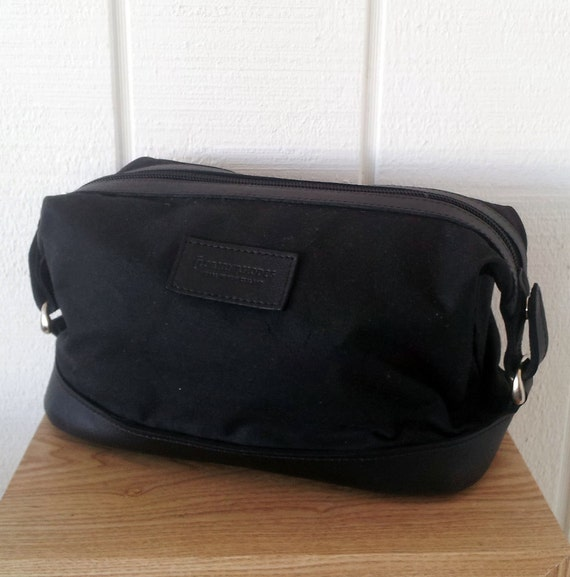 Mens Black Toiletry Bag - Waxed Canvas and Leather