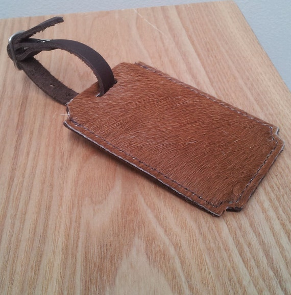 Leather Luggage Tag - Unique Travel Accessory - Tan Cowhide