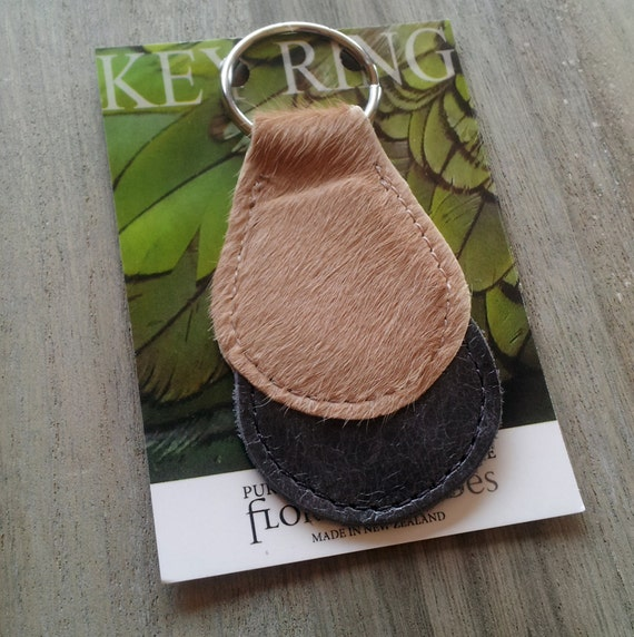 Leather Key Chain/ Key Ring made for natural brown and white cowhide and leather