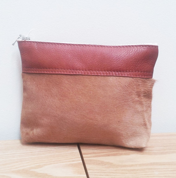 Large Cowhide Purse (pouch) tan with leather trim - Hairon New Zealand Cowhide