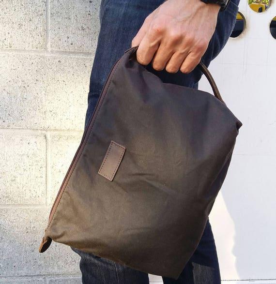Mens Toiletry Bag - Dopp Kit in Oilskin