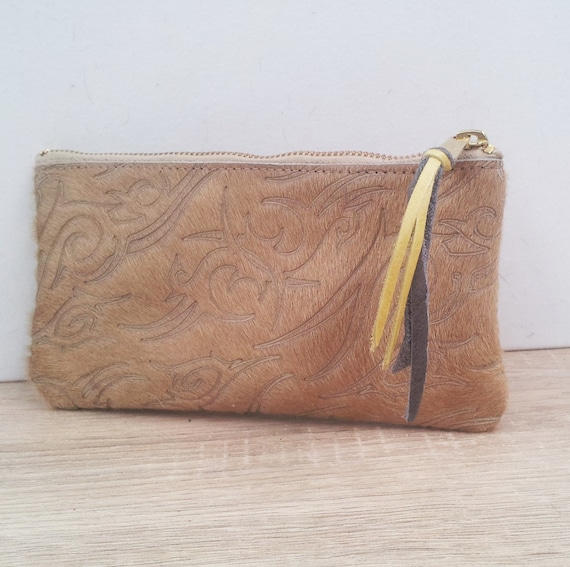 Tan Cowhide Wallet with card slots, phone pocket and wristlet strap - tan leather travel purse with yellow and grey interior